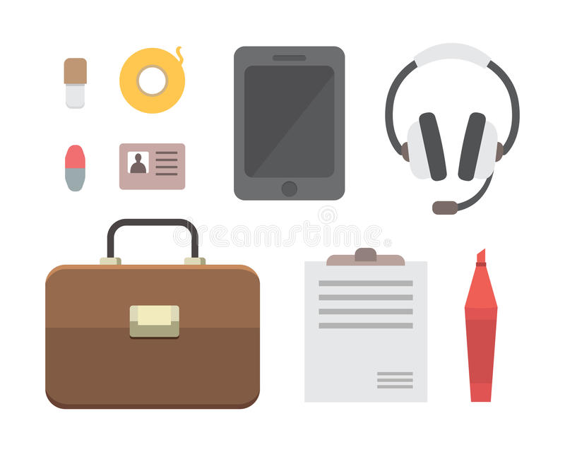 Arbeitsplatz mit tragbaren Geräten und Dokumenten Büro persönlich und Geschäfts-Ikonenvektorsatz Arbeitstabelle mit Gerät stock abbildung