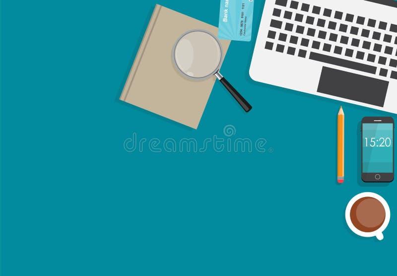 Arbeitsplatz-modernes Büro-flaches InnenDesign vektor abbildung