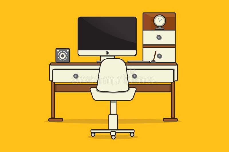 Arbeitsplatz oder Büro stock abbildung