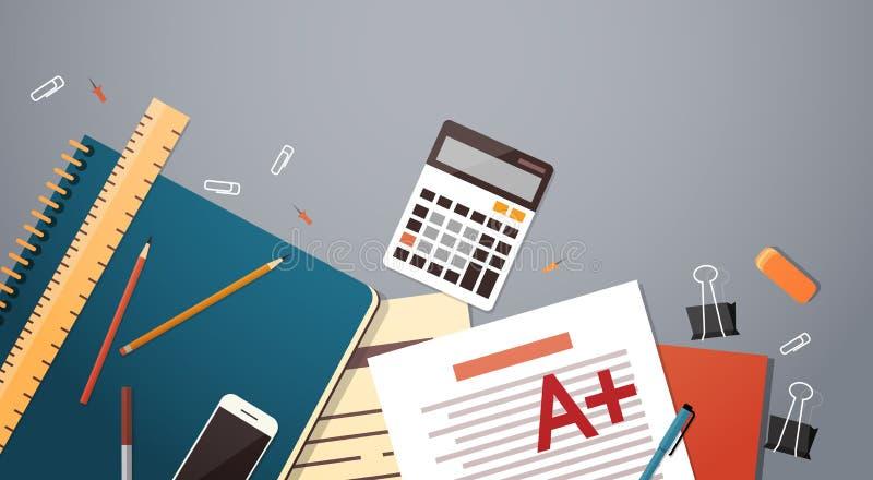 Arbeitsplatz-Schreibtisch dokumentiert Papier-Ordner-Büro-Material-Spitzenwinkelsicht-Kopien-Raum vektor abbildung