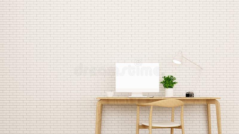 Arbeitsplatz und Backsteinmauer in der Wohnung oder haus- Innenarchitektur für Grafik - Wiedergabe 3D lizenzfreie stockbilder