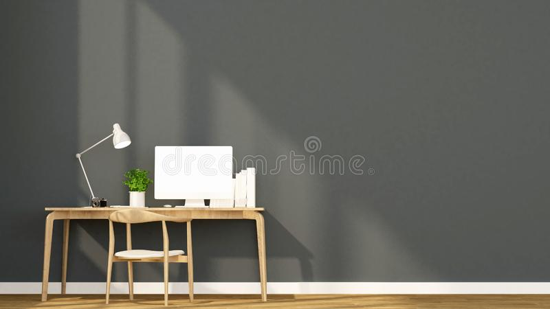 Arbeitsplatz und dunkelgraue Wand im Haus oder in der Wohnung - Innenarchitektur für Grafik - Wiedergabe 3D lizenzfreies stockfoto