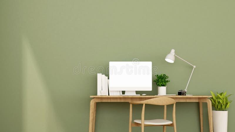 Arbeitsplatz und grüne Wand in der Wohnung oder haus- Innenarchitektur für Grafik - Wiedergabe 3D stockfoto
