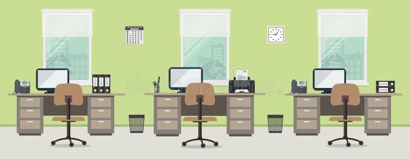 Arbeitsplatz von Büroangestellten mit braunen Möbeln auf einem Fensterhintergrund stock abbildung