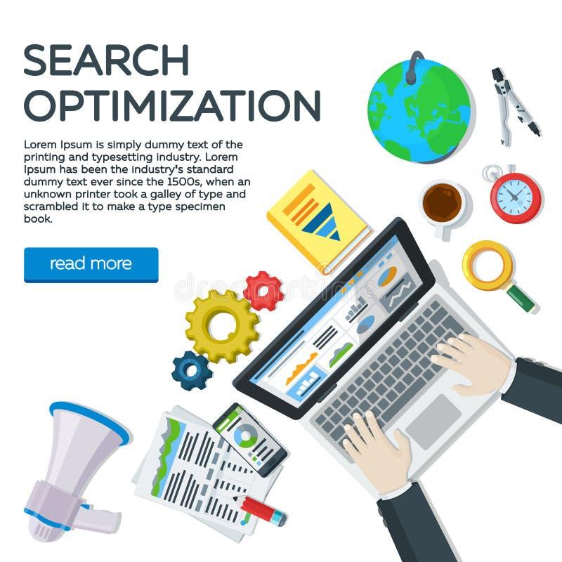 Arbeitsplatzexperte in SEO Netzanalytikelemente und -marketing Websiteentwicklung, Suchmaschinen-Optimierung Draufsicht w des Man vektor abbildung