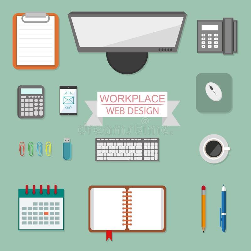 Arbeitsplatzkonzept, Arbeitsplatzdesign in einer flachen Art, Arbeitsplatzausrüstung, Computer, Laptop, Telefon, Taschenrechner,  lizenzfreie abbildung