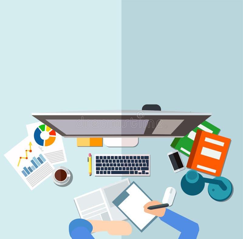 Arbeitsplatzkonzept Geschäftsmann, der am Schreibtisch vor dem Desktop, unterzeichnende Dokumente sitzt stock abbildung