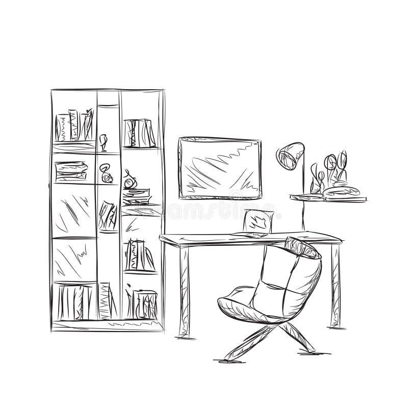 Arbeitsplatzskizze im Büro oder im Haus stock abbildung