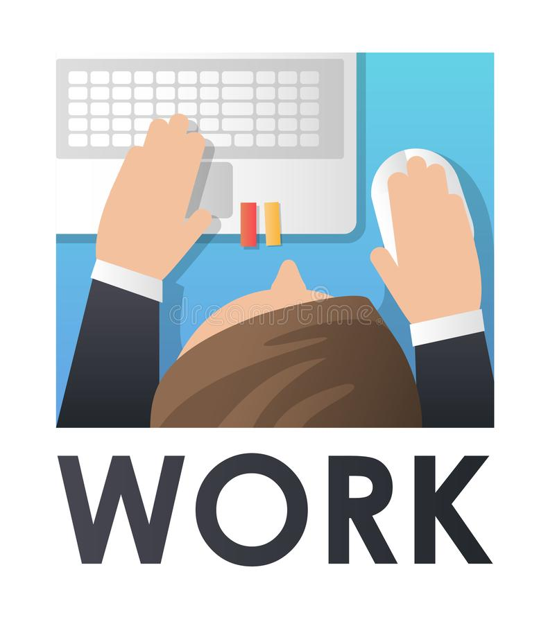 Arbeitsprozeß Mannarbeit mit Computer Konzeptwebseite, Fahne, Darstellung, Social Media lizenzfreie abbildung