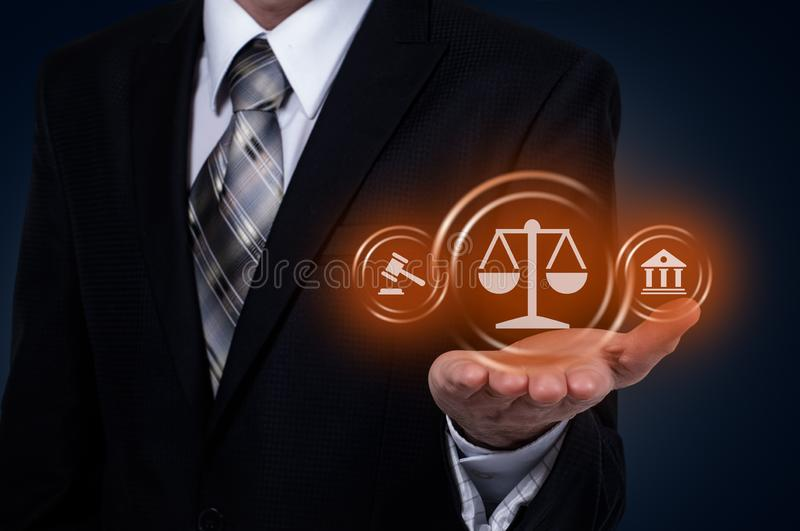 Arbeitsrecht-Rechtsanwalt-Legal Business Internet-Technologie-Konzept lizenzfreies stockfoto