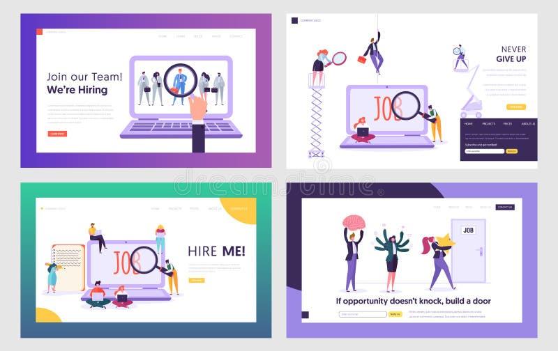 Arbeitssuchenden, die Arbeits-Website-Landungs-Seiten-Schablonen-Satz suchen Leute-Einstellungsberufung im Internet, Wartepubliku lizenzfreie abbildung