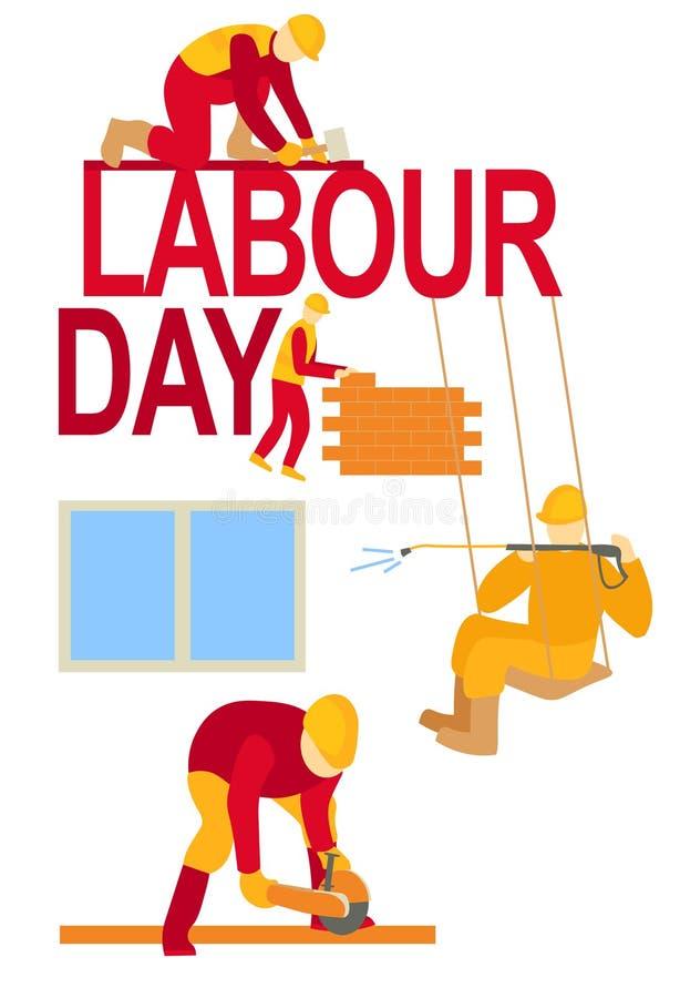 Arbeitstagesarbeitskraftplakatfahne, die am 1. Mai Kartenillustration von Werktags-Arbeitskräften in der Aktion grüßt stock abbildung