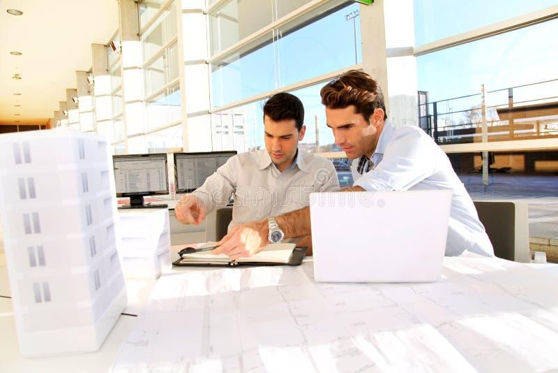 Arbeitsteam, das Baumuster betrachtet lizenzfreie stockfotos