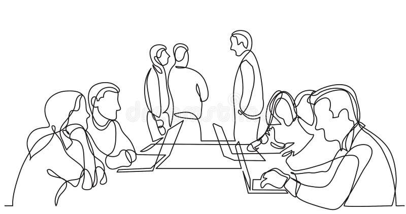 Arbeitsteamdiskussion im Konferenzsaal - Federzeichnung der einzelnen Zeile stock abbildung