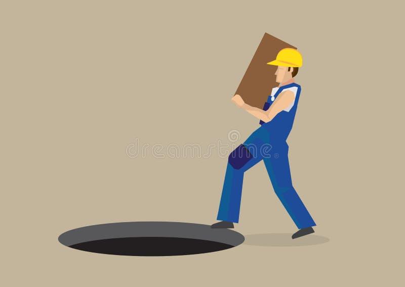 Arbeitsunfall Karikatur-Vektor-Illustration lizenzfreie abbildung