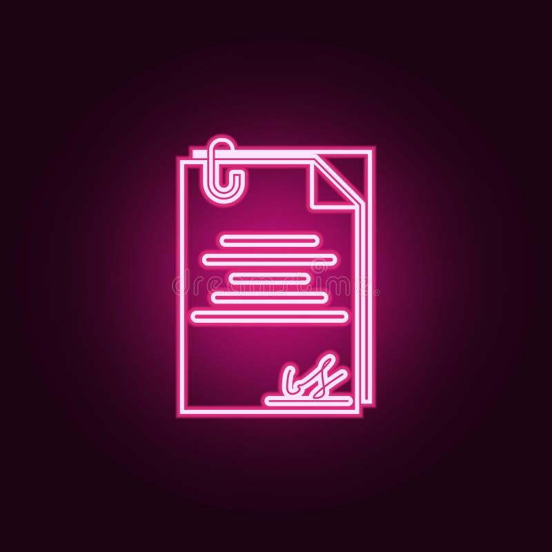 Arbeitsvertragsikone Elemente von Stunde u. von Hitzejagd in den Neonartikonen Einfache Ikone für Website, Webdesign, mobiler App stock abbildung