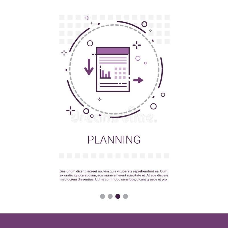 Arbeitsvorbereitungs-Geschäftsstrategie-Marketing-Netz-Fahne mit Kopien-Raum lizenzfreie abbildung