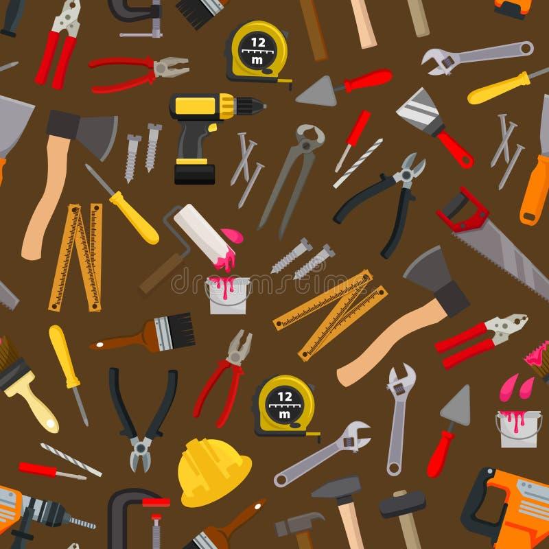 Arbeitswerkzeug, nahtloses Muster des Reparaturinstrumentes lizenzfreie abbildung