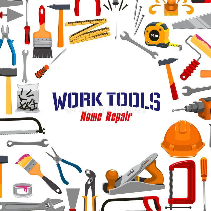 Arbeitswerkzeug- und Reparaturinstrumentvektorplakat lizenzfreie abbildung