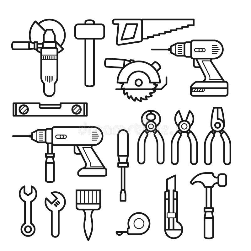 Arbeitswerkzeuge zeichnen Ikonen - Puncher-, Bohrger?t-, Schl?ssel-, S?ge-, Zangen- und Bauwerkzeugausr?stung vektor abbildung