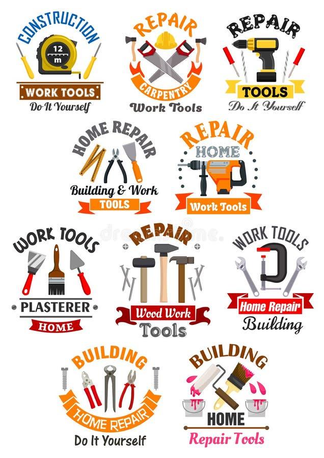 Arbeitswerkzeugembleme stellten für Reparatur, Bau ein lizenzfreie abbildung