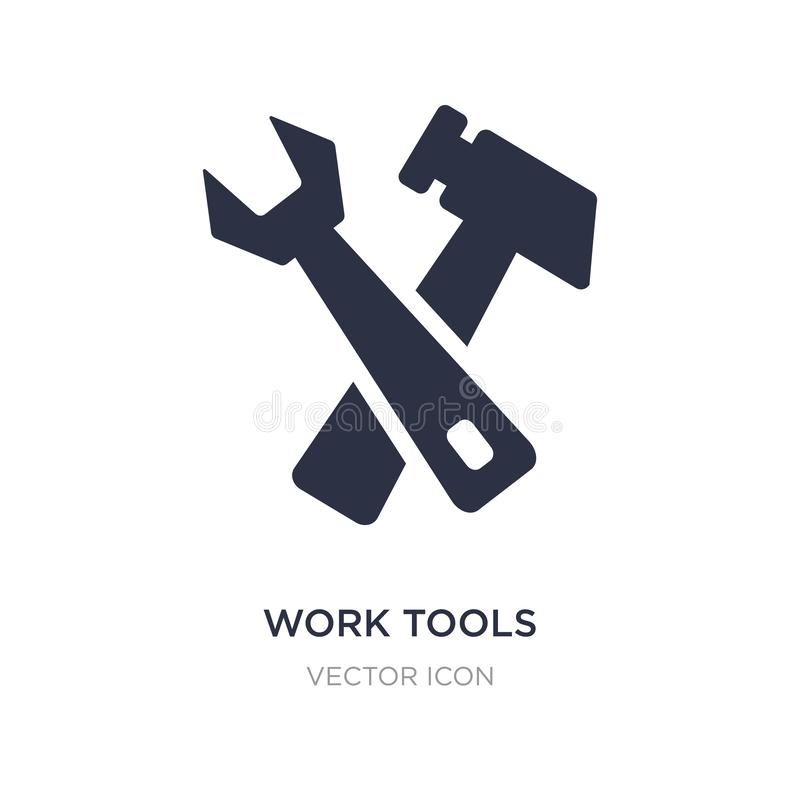 Arbeitswerkzeugikone auf weißem Hintergrund Einfache Elementillustration von UI-Konzept stock abbildung