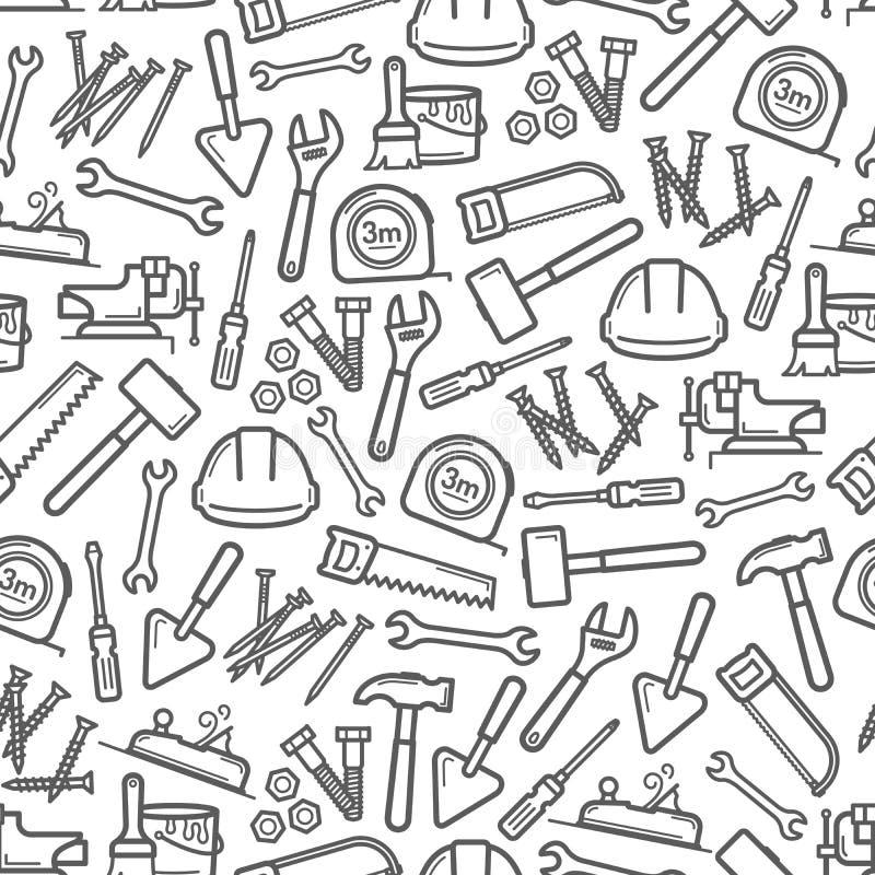 Arbeitswerkzeugmuster des Hammers, Schraubenzieher, Schlüssel lizenzfreie abbildung