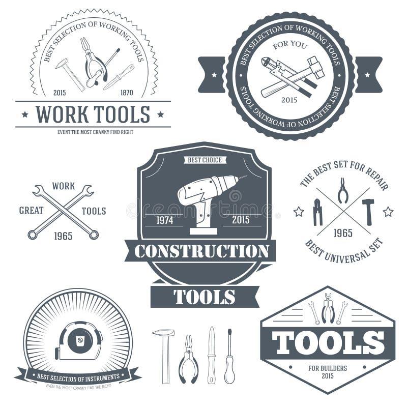 Arbeitswerkzeugsatz-Aufkleberschablone des Emblemelements für Ihr Produkt oder Design, des Netzes und der beweglichen Anwendungen stock abbildung