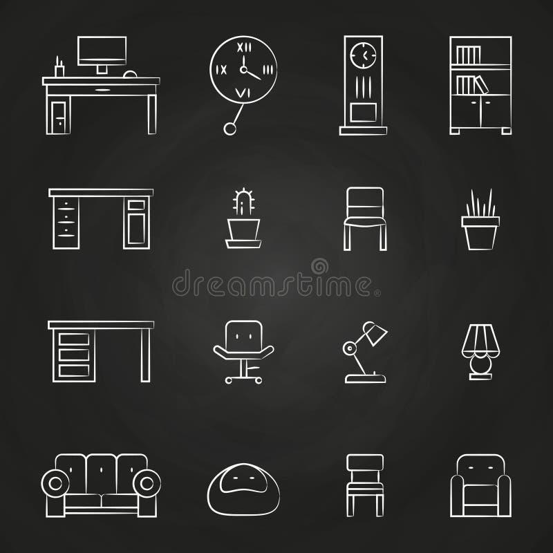 Arbeitszimmermöbelikonen auf Tafel vektor abbildung