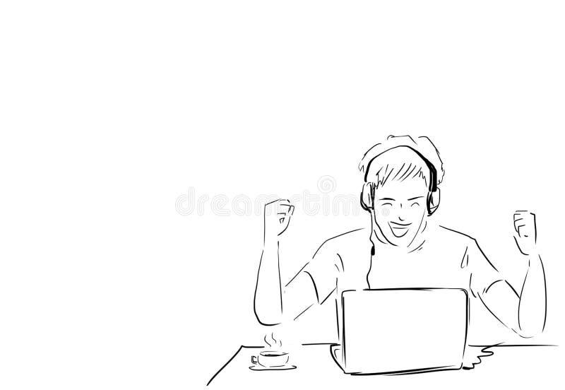 Arbeta för man som är lyckat med bärbara datorn på skrivbordet stock illustrationer