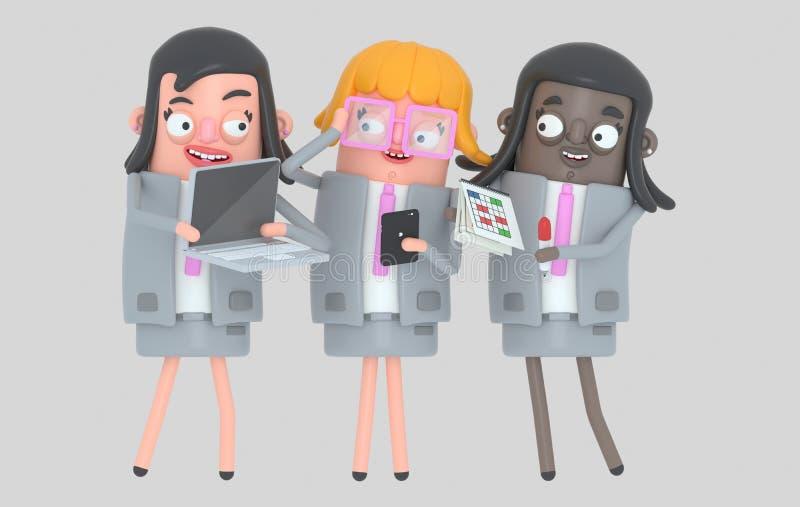 Arbeta för teamwork för affärskvinna isolerat stock illustrationer