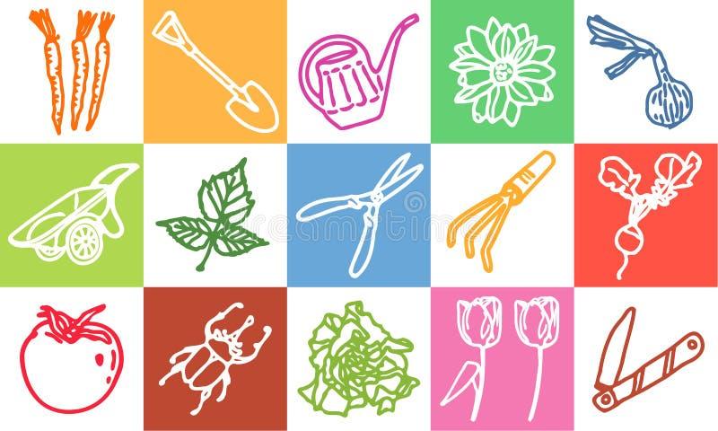 arbeta i trädgården stock illustrationer