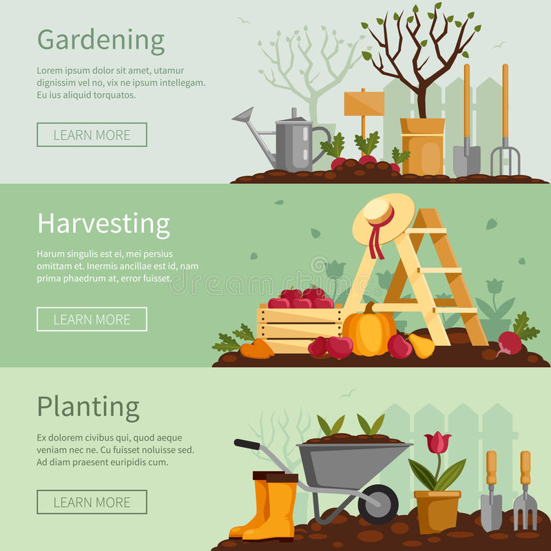 Arbeta i trädgården baneruppsättningen Växter hjälpmedel, utrustning royaltyfri illustrationer