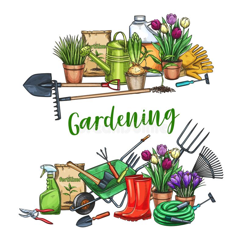 Arbeta i trädgården banret med hjälpmedel stock illustrationer
