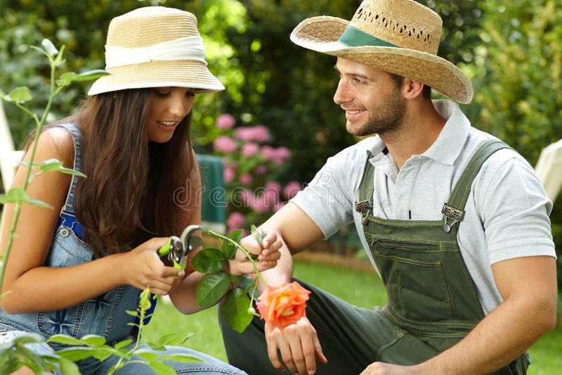 arbeta i trädgården barn för par royaltyfri bild