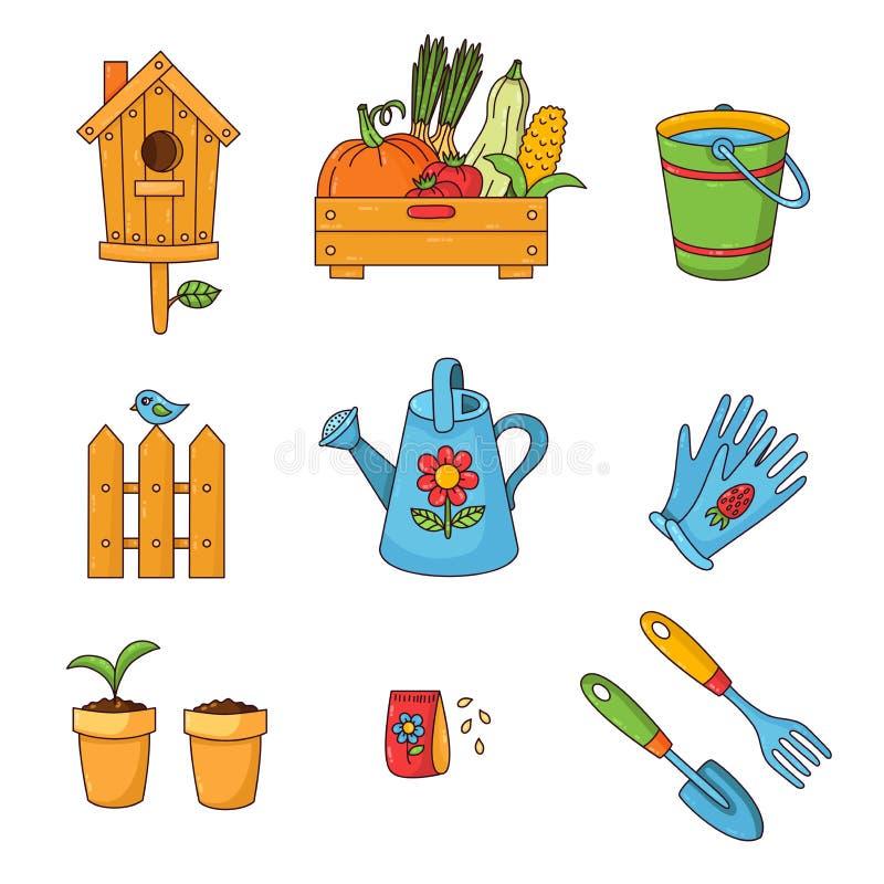 Arbeta i trädgården den färgrika gulliga uppsättningen för tecknad filmsymbolsvektor royaltyfri illustrationer