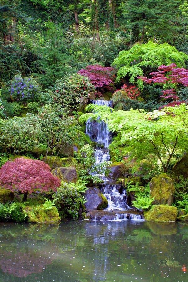 arbeta i trädgården den japanska ståendevattenfallet royaltyfri foto