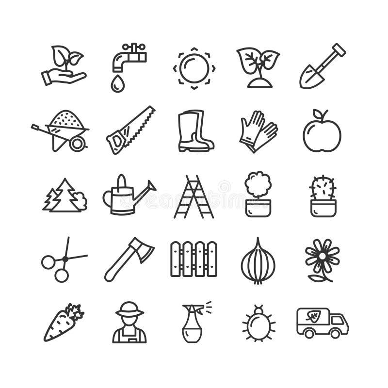 Arbeta i trädgården den svarta tunna linjen symbolsuppsättning för tecken vektor royaltyfri illustrationer