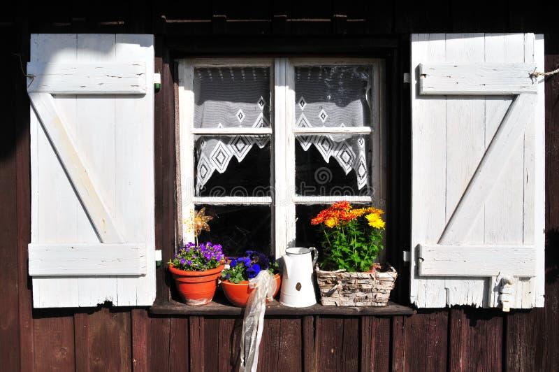 arbeta i trädgården det gammala skjulfönstret royaltyfria foton