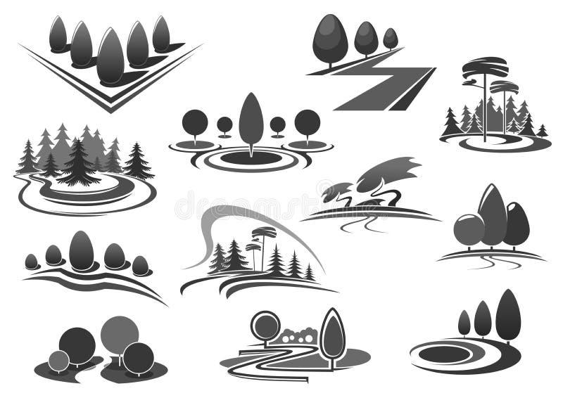 Arbeta i trädgården eller gröna symboler för landskapdesignvektor royaltyfri illustrationer