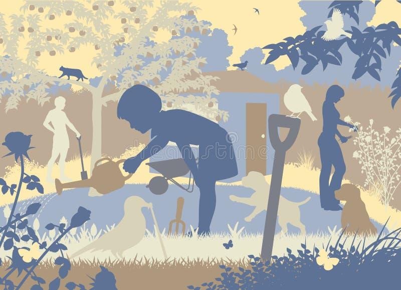 arbeta i trädgården för familj vektor illustrationer