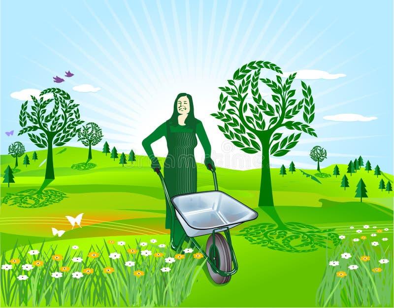 arbeta i trädgården fjäder vektor illustrationer