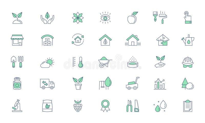 Arbeta i trädgården hem- trädgård, lantgårdvektorlinje symbolsuppsättning stock illustrationer