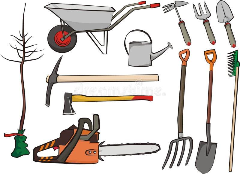 arbeta i trädgården hjälpmedel royaltyfri illustrationer