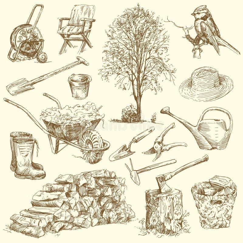 Arbeta i trädgården hjälpmedel stock illustrationer
