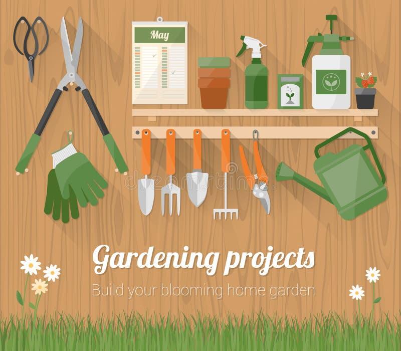 Arbeta i trädgården hjälpmedel på en trävägg royaltyfri illustrationer