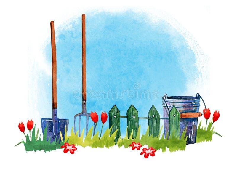 Arbeta i trädgården hjälpmedel på gräs - räcka den utdragna vattenfärgillustrationen på blå bakgrund stock illustrationer