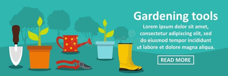 Arbeta i trädgården hjälpmedelbanerhorisontalbegrepp royaltyfri illustrationer