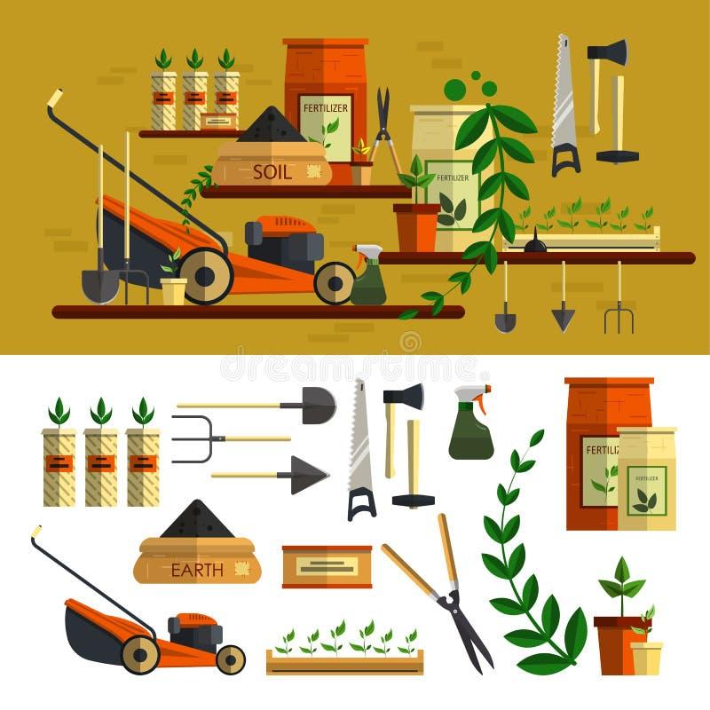 Arbeta i trädgården hjälpmedelillustrationen lägenhet för vektorsymbolsuppsättning vektor illustrationer