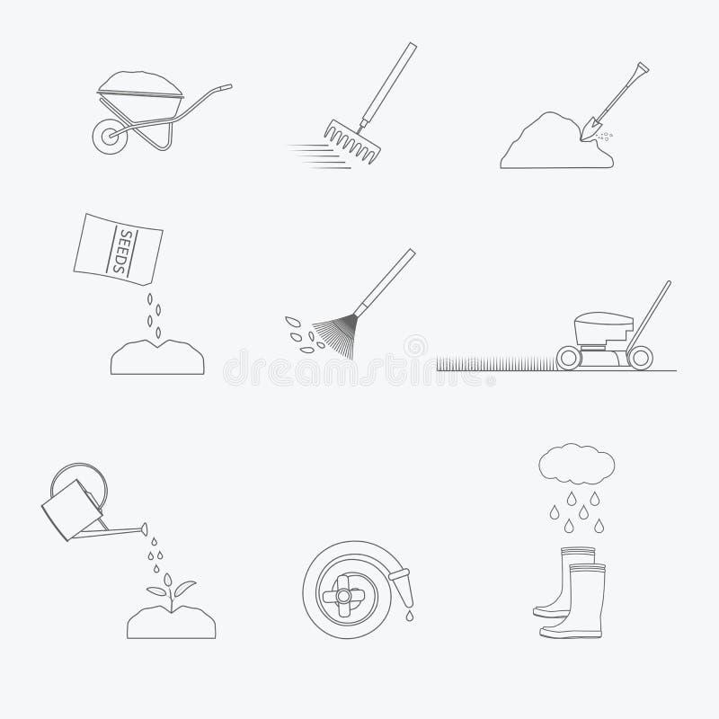 Arbeta i trädgården hjälpmedellinjen symbolsuppsättning vektor vektor illustrationer